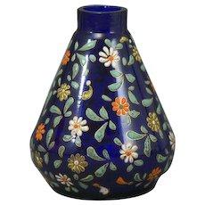 Moser Cobalt Conical Vase Flower Enamel