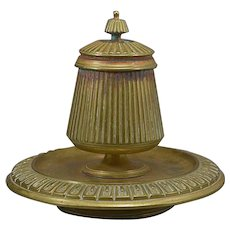 Continental Bronze Inkwell Ink Standish Pen Rest