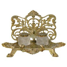 Bradley & Hubbard Inkwell Inkstand American Art Nouveau Brass & Glass