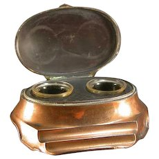 Inkwell Art Deco Oval Polished Copper