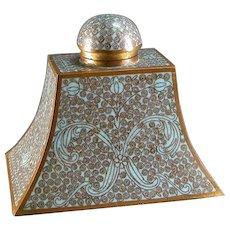 Cloisonne Inkwell Arabesque Turqoise Enamel & Brass