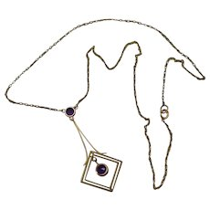 Edwardian Amethyst & 9ct Yellow Gold with Seed Pearl Lavaliere Necklace