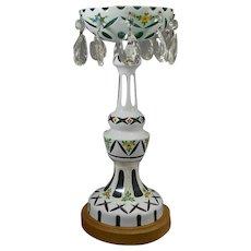 Bohemian White Cut to Green Mantle Lustre Lamp