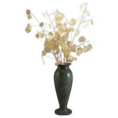 Silver Crest Bronz Vase Silver Overlay American Arts & Crafts