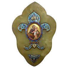 French Champleve Holy Water Font with Christ Child Icon