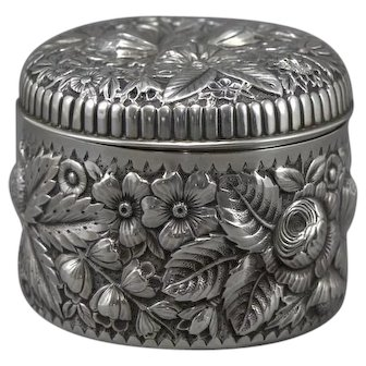 Gorham Sterling Silver Repousse Floral Box