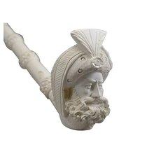 """Meerschaum Turk's Head Sultan Head Churchwarden Pipe 17"""" Cased"""