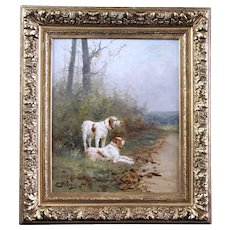 19th century French oil painting on canvas hunting dogs