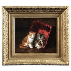 19th century French oil painting on canvas three kittens by Alfred Brunel De Neuville