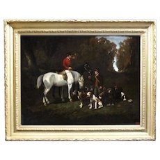 19th century antique French oil painting on canvas hunting scene