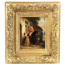 19th century antique Belgian oil painting on wooden panel