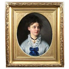 19th century Swedish oil painting on canvas portrait lady