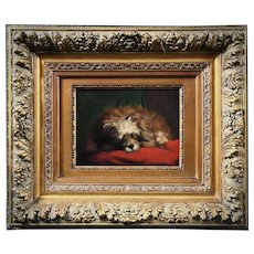 19th century Belgian oil painting on wooden panel portrait of a little dog