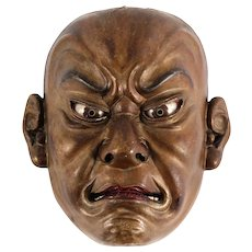 Japanese antique wooden mask , Ainu North Japan 19TH century.