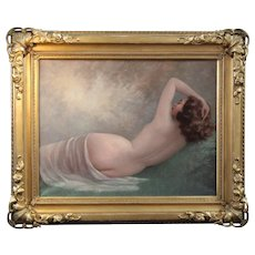 Reclinning nude oil painting ,by Jean Jannel, French school 20Th