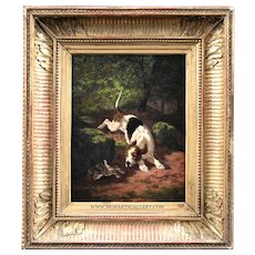 Antique oil painting on copper plate, hunting dog French school 19th
