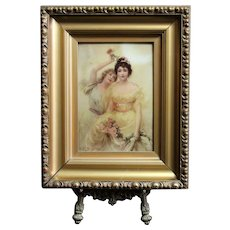 """Antique original reverse oil painting on Glass """"The rose of Roses"""" by Edouard Bisson 1896"""