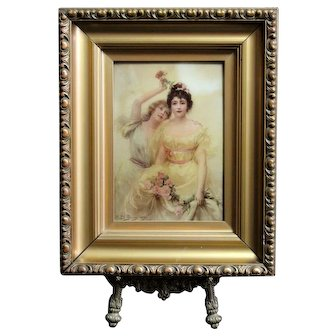 "Antique original reverse oil painting on Glass ""The rose of Roses"" by Edouard Bisson 1896"