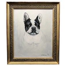oil painting on canvas French Bulldog 20th with old frame