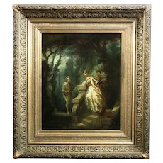 Antique oil painting on panel French school 19th century