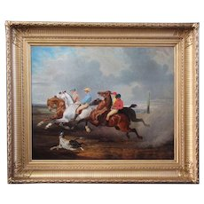 Antique oil on canvas , equestrian racing scene dog French school 19th