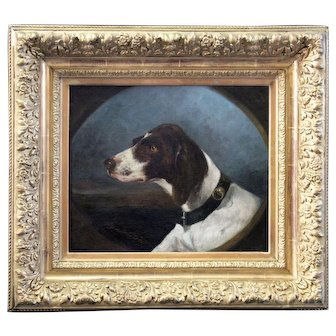 Antique oil painting on canvas portrait of a pointer hunting dog 19th