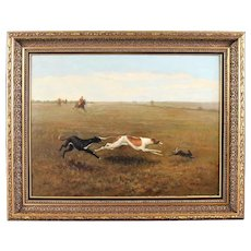 Antique oil painting on canvas ,hunting scene dog(s) chasing a hare 19th