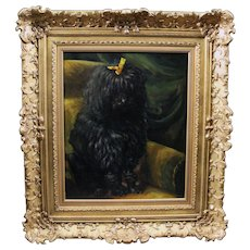 Antique oil painting on canvas portrait of dog poodle 19th