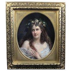 Antique original oil painting on canvas, portrait lady Art Nouveau 19th