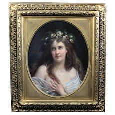 Antique original oil painting on canvas, portrait lady Art Nouveau 19th