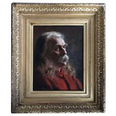 Antique oil painting on canvas-cardboard, portrait American school 19th