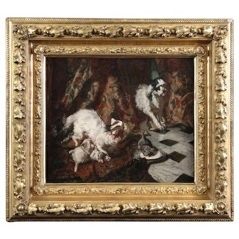 Fine art oil painting on canvas portrait cat kittens and a dog French 19th