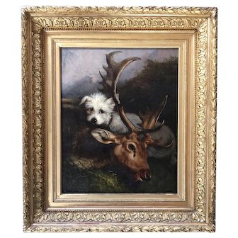 Antique oil on canvas ,hunting scene dog French school 19th