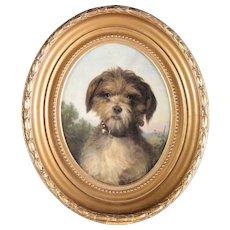 Antique fine art oil painting on canvas portrait of a dog 19th