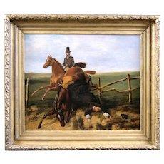 Antique fine art oil painting on canvas , equestrian scene British school 19th