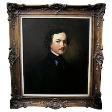 Antique fine art oil painting, portrait of a gentleman American school 19th