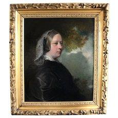 Antique fine art painting oil on canvas ,portrait of a lady British school 19th