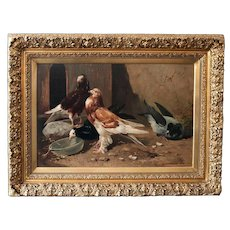Antique fine art oil painting on canvas , pigeons French school 19th