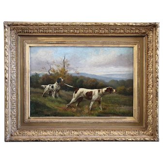 Fine art oil painting, hunting dogs French school.