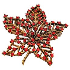 Mid Century Signed WEISS Orange Rhinestone Maple Leaf Pin