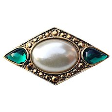 Marquis Shaped Brooch Pin w/ Faux Pearl & Faux Emeralds
