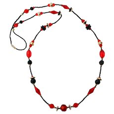 Vintage Red Black Gold Silver Beaded Necklace 1980s