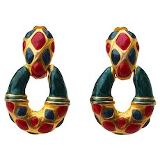 Mid Century Red Green Gold Pendant Drop Clip-on Earrings