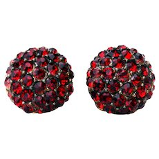 Round Red Rhinestone Clip-on Earrings 1940s