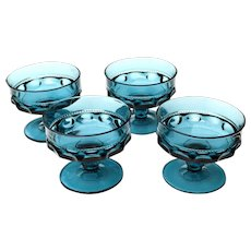 4 Blue Kings Crown Thumbprint Glass Pedestal Bowls Indiana Glass