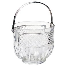 Mid Century Pressed Glass Diamond Point Ice Bucket w/ Handle