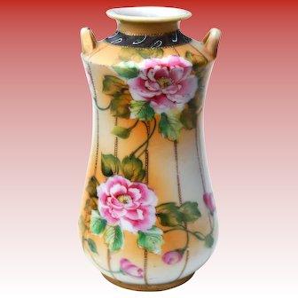 Antique Art Nouveau Nippon Hand Painted Floral Gilt Moriage Handled Vase