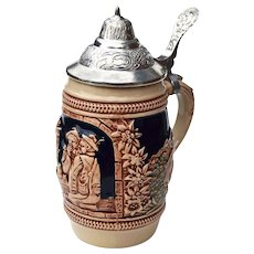 Vintage Small Gerz German Beer Stein w/ Pewter Lid