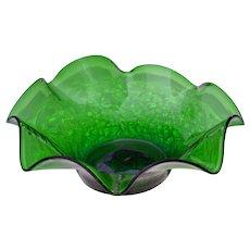 Vintage BLENKO Art Glass Ruffled Crackle Glass Bowl