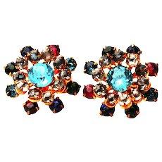 Mid Century Multicolor Rhinestone Earrings